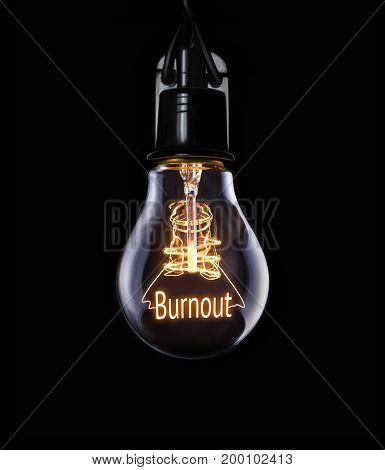 Hanging lightbulb with glowing Burnout business concept.