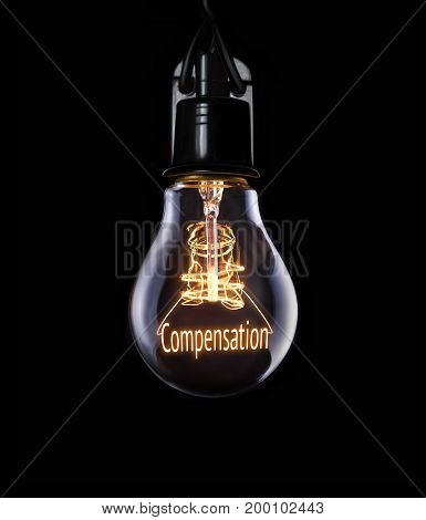 Hanging lightbulb with glowing Compensation business concept.