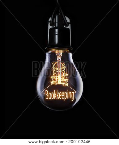 Hanging lightbulb with glowing Bookkeeping business concept.