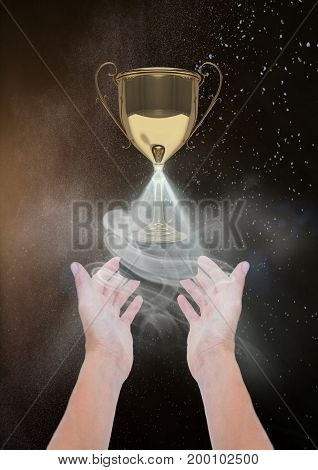 Digital composite of Woman with a trophy on hands