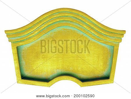 Golden frame curly background patina signboard banner