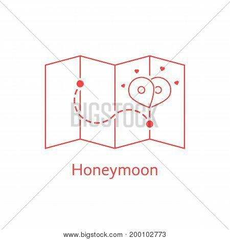 red thin line map pin like honeymoon. concept of enamored, bridal plan, happiness, trip, ceremony, honeymoon period. isolated on white background. linear style modern logo design vector illustration
