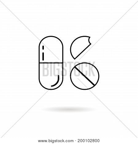 thin line pills with shadow. concept of bolus, pellet, pack, med science, broken pastille, first aid, chemistry. isolated on white background. linear style trend modern logo design vector illustration