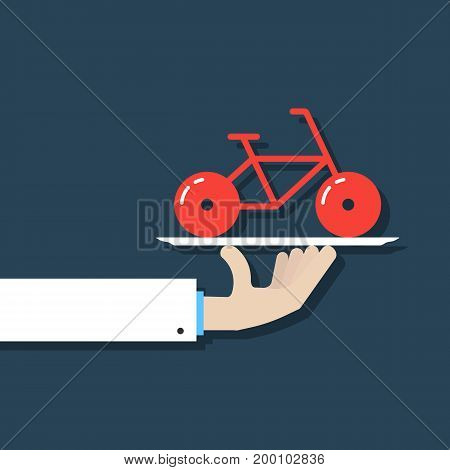 hand holding bicycle on dish. concept of rent-a-bike, velocipede, bicyclist, journey, tour, present, trip. isolated on dark blue background. flat style modern bicycle logo design vector illustration