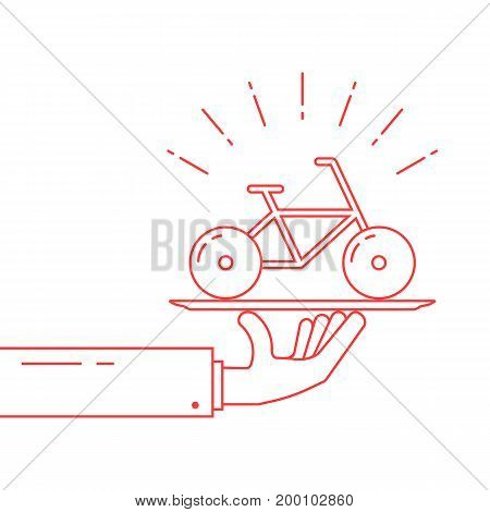 red thin line hand holding bicycle on dish. concept of rent-a-bike, velocipede, bicyclist journey, tour, present, trip. isolated on white background linear style modern logo design vector illustration