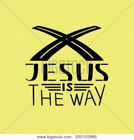 Hand lettering Jesus is the way. Biblical background. Christian poster. New Testament. Scripture. Card. Modern calligraphy