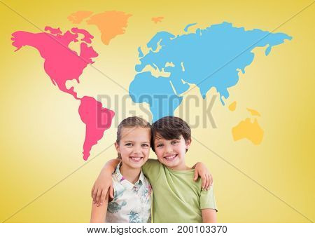 Digital composite of Boy and girl hugging in front of colorful world map