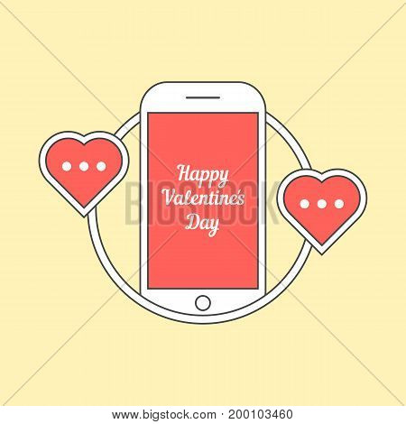 phone with hearts like messaging. concept of penpal, rendezvous, gadget, device, affair, flirt, connect, call. isolated on yellow background. flat style trend logo design vector illustration