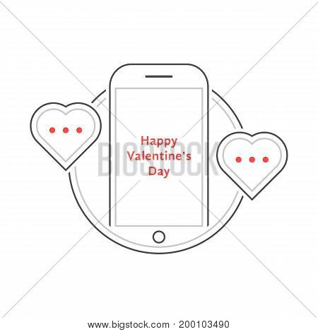 thin line phone like love messaging. concept of penpal, rendezvous, gadget, device, affair, flirt, connect call. isolated on white background. linear style trend modern logo design vector illustration