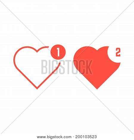 red hearts icons like notification. concept of charity, favourite, badge, ui, valentine day element, user interface. isolated on white background. flat style trend logotype design vector illustration