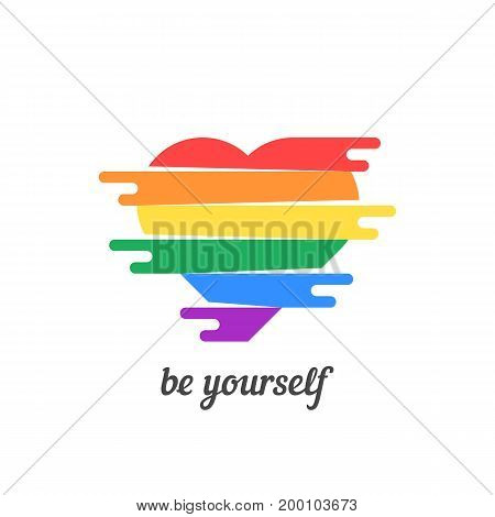 be yourself with colored heart. concept of non-traditional, happy valentine day, lifestyle, gender, matrimony. isolated on white background. flat style trend modern logo design vector illustration