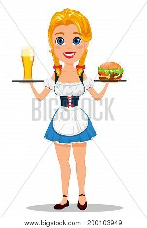Oktoberfest vector illustration with sexy redhead girl holding pint of cold beer and tasty cheeseburger. Can be used for poster invitation banner.