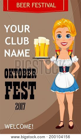 Oktoberfest vector illustration with sexy redhead girl holding three pints of beer. Can be used for poster invitation banner.