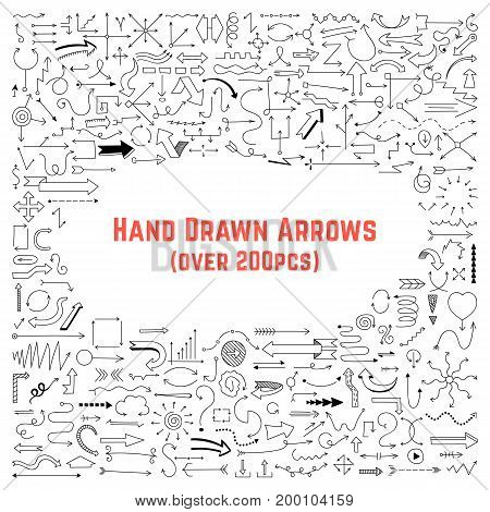 set of black hand drawn arrows. concept of directrix, guide line, indicator, handdrawn comics, move, turn way. isolated on white background. sketchy style trend modern logo design vector illustration
