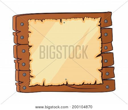 Wooden Plaque Sign With Paper Vector Symbol Icon Design. Beautiful Illustration Isolated On White Ba