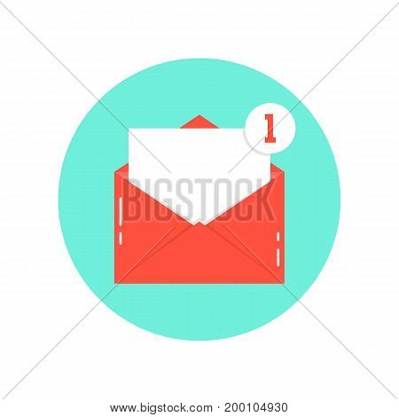 red letter notification on green circle. concept of e-mail, postal, sms, support, check list, media advertising. isolated on white background. flat style trend modern logo design vector illustration