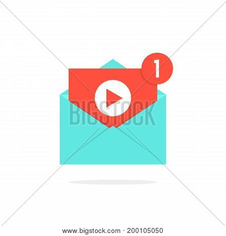 video notification button in letter. concept of e-mail, sharing movie, channel, chat, livestream, monetize, file, seo. isolated on white background. flat trend modern logo design vector illustration