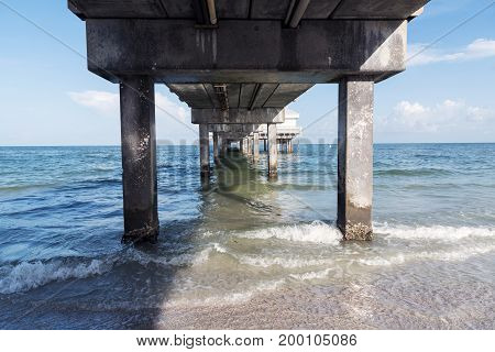 View of the sea from under the fishing pier