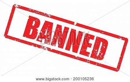 Grunge stamp with word Banned. Square grunge rubber stamp on white background. Vector stock.