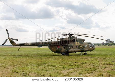 Moscow Region - July 21 2017: The world's most prevalent twin-engine helicopter Mi-8 at the International Aviation and Space Salon (MAKS) in Zhukovsky.