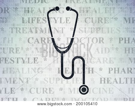 Healthcare concept: Painted black Stethoscope icon on Digital Data Paper background with  Tag Cloud