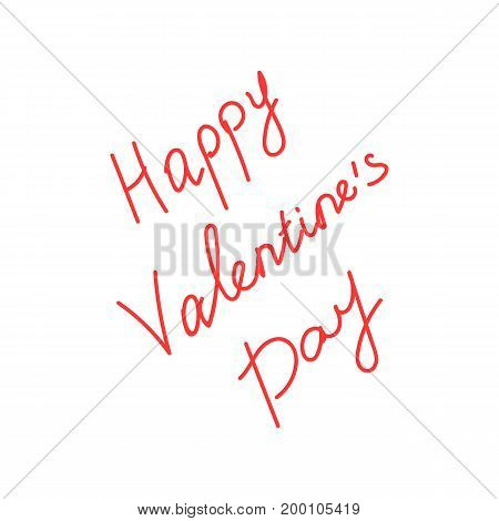 red happy valentine s day lettering. concept of relationship, passion, happiness, marriage, friendship, poster. isolated on white background. sketch style trend modern design vector illustration