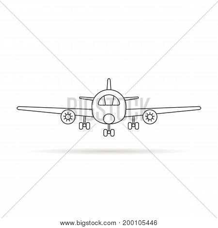 thin line airplane icon with shadow. concept of voyage, pilot, trip, cockpit, vehicle, airbus, cruise, airfare. isolated on white background. linear style trend modern logo design vector illustration
