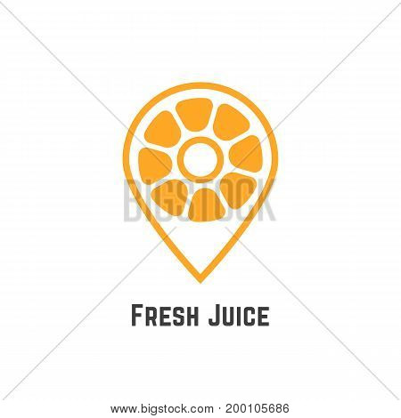 fresh juice with orange like map pin. concept of nutrition, citric, pointer, search, find bar, freshness, cafe spot. isolated on white background. flat style modern brand design vector illustration