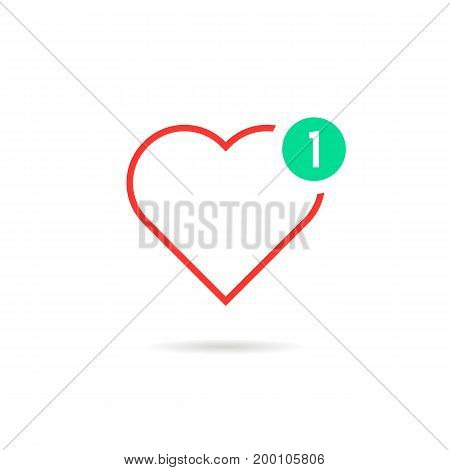 thin line heart like notification. concept of happy valentine day message, ui, charity, positive rating. isolated on white background. flat style trend modern logotype design vector illustration
