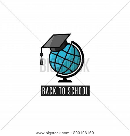 Back to school logo globe and mortarboard training courses emblem or education poster mockup flat knowledge icon