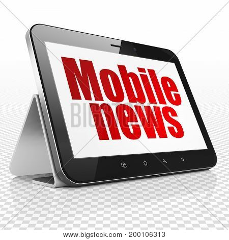 News concept: Tablet Computer with red text Mobile News on display, 3D rendering