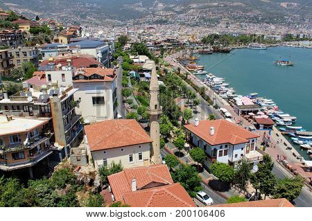 View from the Red Tower to the adjacent urban area (Alanya, Turkey).
