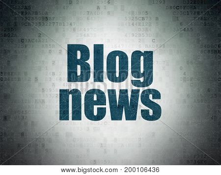 News concept: Painted blue word Blog News on Digital Data Paper background