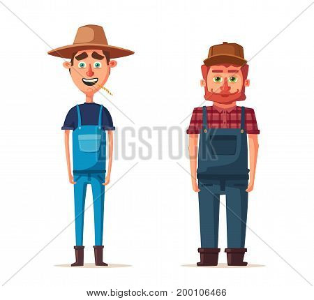Funny farmers. Cartoon vector illustration. Rural man, village or countryside. Old redneck, gardener person. Agriculture and farming.
