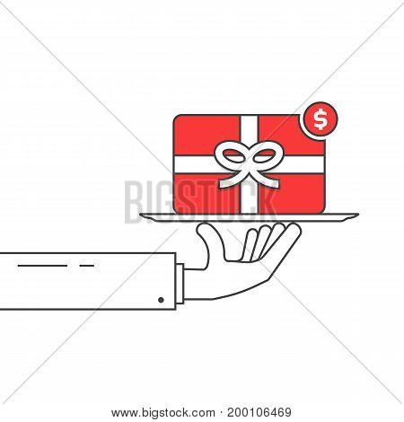 thin line hand holding red gift card. concept of profitable terms, favorable conditions, black friday or cyber monday sale. isolated on white background. flat style modern design vector illustration
