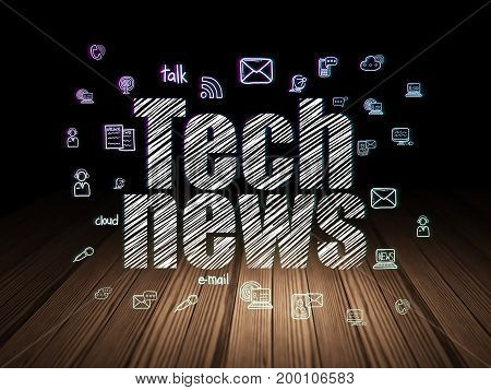 News concept: Glowing text Tech News,  Hand Drawn News Icons in grunge dark room with Wooden Floor, black background