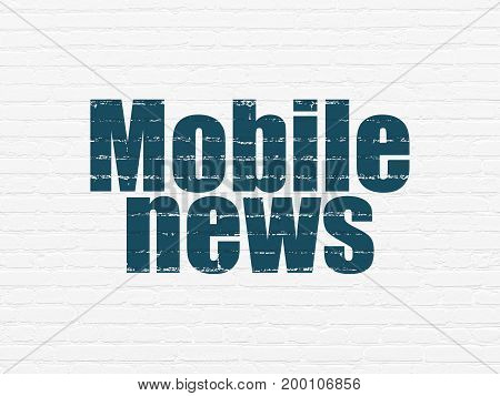 News concept: Painted blue text Mobile News on White Brick wall background