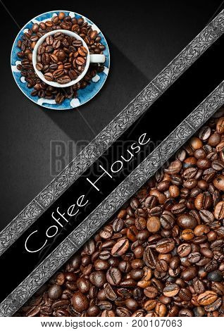 Template for a coffee house menu with a cup with roasted coffee beans on a grey background and diagonal silver band
