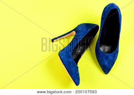 Blue Suede High Heel Shoes, Top View.