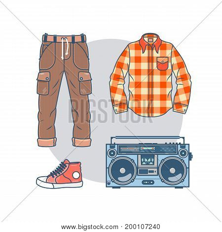 Set of trendy men s wear and accessories. Pack of fashionable male apparel s elements thin line in hipster style. Line art Collection of stock vector clipart.