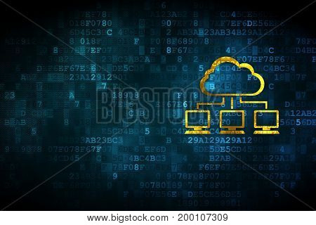 Cloud computing concept: pixelated Cloud Network icon on digital background, empty copyspace for card, text, advertising