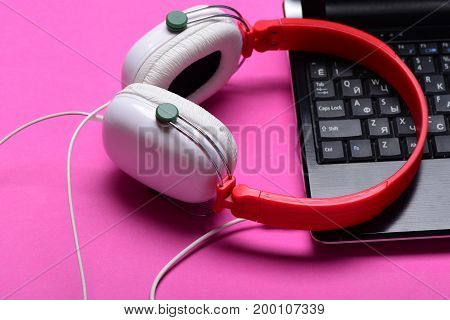 Music And Digital Equipment Concept. Electronics Isolated On Pink Background.