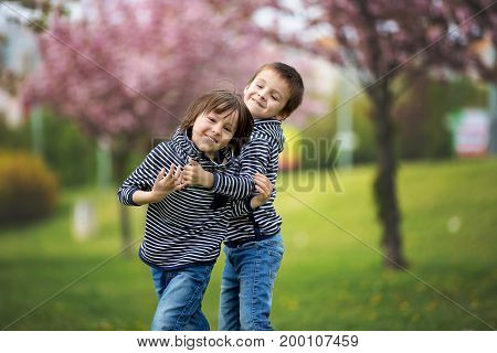 Two Children, Brothers, Fighting In A Park