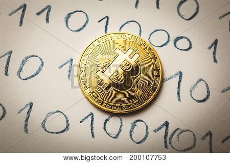 Bitcoin coin at Binary code background, Trading concept of crypto currency, toned
