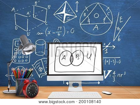 Digital composite of Computer Desk foreground with blackboard graphics of math diagrams
