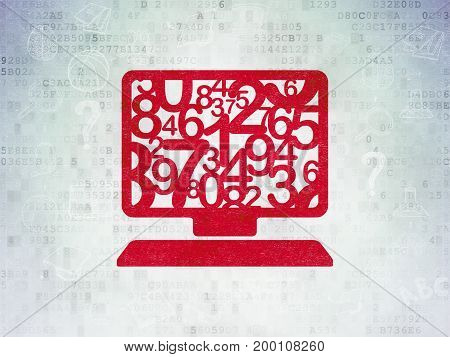 Learning concept: Painted red Computer Pc icon on Digital Data Paper background with Scheme Of Hand Drawn Education Icons