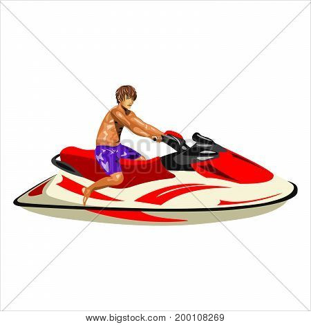 A man on a jet ski on a white background. Flat design. Vector illustration.