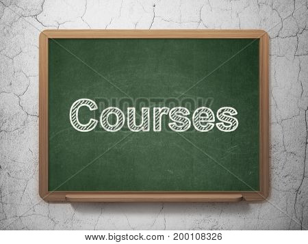 Education concept: text Courses on Green chalkboard on grunge wall background, 3D rendering