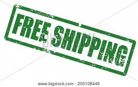 Grunge stamp with word Free shipping. Square grunge rubber stamp on white background. Vector stock.