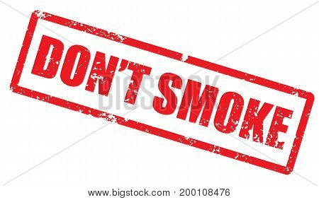 Grunge stamp with word Don't smoke. Square grunge rubber stamp on white background. Vector stock.